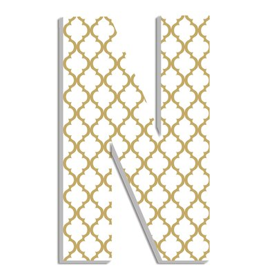 Trellis Hanging Initials Letter: N, Color: Gold and White