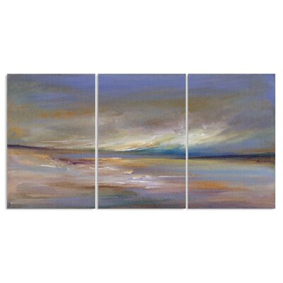 'Ocean Horizon Painting Triptych' 3 Piece Graphic Art Wall Plaque Set