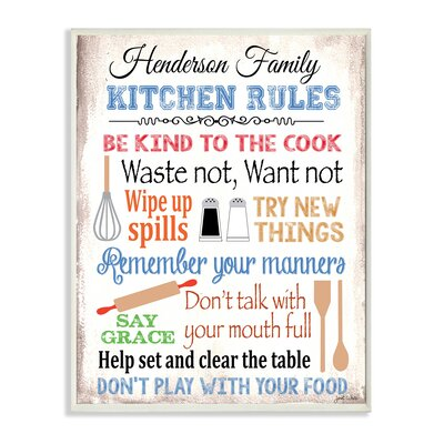 Personalized Kitchen Rules by Janet White with Kitchen Tools Graphic Art Plaque