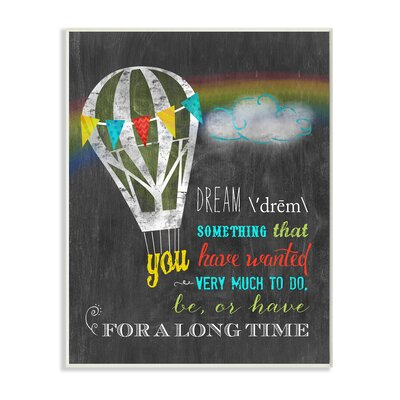 Dream Definition with Hot Air Balloon Textual Art Wall Plaque mwp-147