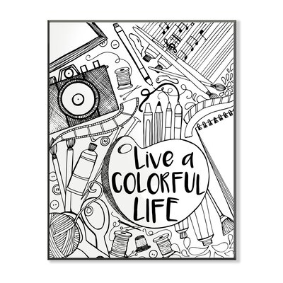 DIY Coloring Wall Plaque Live a Colorful Life Graphic Art
