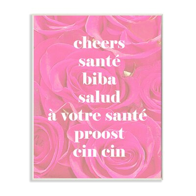 Lulusimonstudio 'Cheers In Different Languages' Graphic Art Print Format: Plaque, Size: 10
