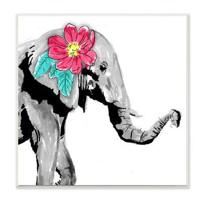 'Elephant with Floral' Graphic Art