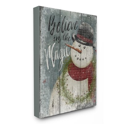'Believe in Magic Snowman' Graphic Art Print Format: Canvas, Size: 20