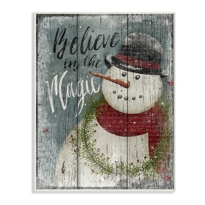 'Believe in Magic Snowman' Graphic Art Print Format: Plaque, Size: 15
