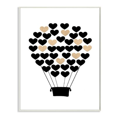 """Black And Gold Heart Hot Air Balloon Graphic Art Print Size: 15"""" H x 11"""" W, Format: Plaque brp-1838_wd_10x15"""
