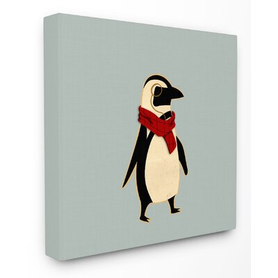 Hipster Penguin with Scarf Stretched Canvas Wall Art brp-1951_cn_17x17