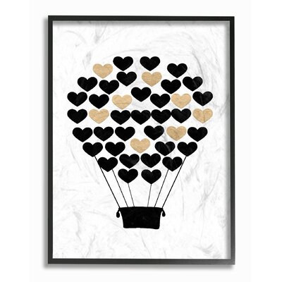 "Black And Gold Heart Hot Air Balloon Graphic Art Print Format: Black Frame, Size: 14"" H x 11"" W brp-1838_fr_11x14"