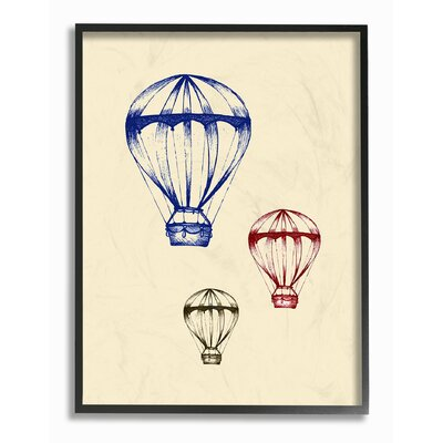 "Hot Air Balloon Blue Red Green Oversized Stretched Graphic Art Print Format: Black Frame, Size: 20"" H x 16"" W brp-1841_fr_16x20"