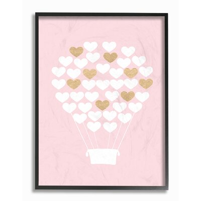 "White Gold Pink Heart Hot Air Balloon Graphic Art Print Format: Black Frame, Size: 14"" H x 11"" W brp-1840_fr_11x14"