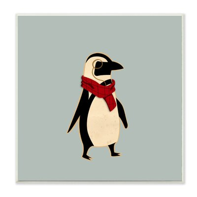 Hipster Penguin with Scarf Wall Plaque brp-1951_wd_12x12