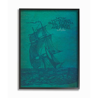 'Now Voyage Sail Forth Ship Illustration' Graphic Art Print Format: Black Frame, Size: 14