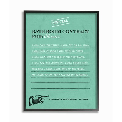 Official Bathroom Contract Framed Giclee Texturized Art Size: 14