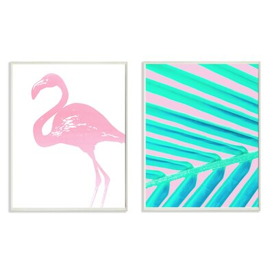 LulusimonSTUDIO Neon Flamingo Palm Leaf Print 2pc Wall Plaque Art Set