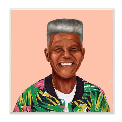 'Hipstory Hipster Nelson Mandela' Graphic Art Print Format: Plaque, Size: 12
