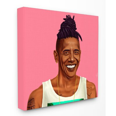 Hipstory Hipster Barack Obama Stretched Canvas Wall Art Size: 17