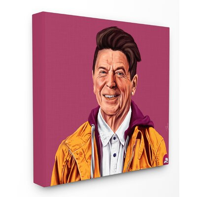 Hipstory Hipster Ronald Reagan Stretched Canvas Wall Art Size: 17