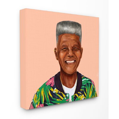 Hipstory Hipster Nelson Mandela Stretched Canvas Wall Art Size: 17