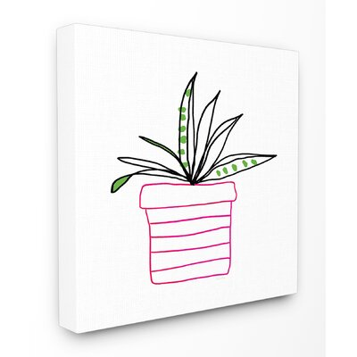 Pink Pot Succulent Line Drawing Stretched Canvas Wall Art Size: 17