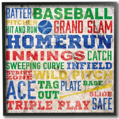 The Kids Room 'Baseball Words' Framed Textual Art Wall Plaque brp-1620_fr_12x12
