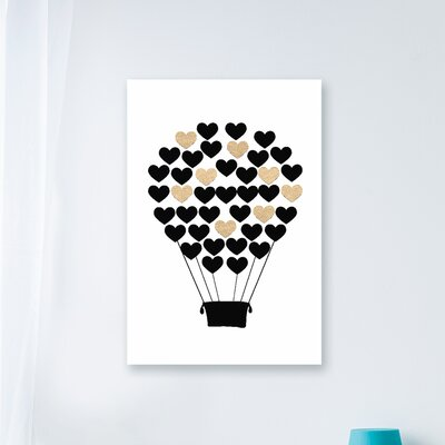 """Black And Gold Heart Hot Air Balloon Graphic Art Print Size: 20"""" H x 16"""" W, Format: Canvas brp-1838_cn_16x20"""