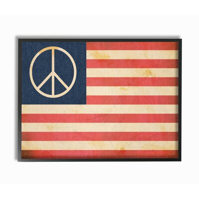 'Peace American Flag' Graphic Art Print Format: Black Framed, Size: 11