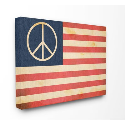 'Peace American Flag' Graphic Art Print Format: Wrapped Canvas, Size: 16