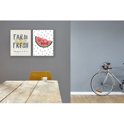 'Life Is Sweet Watermelon' Wall Art Format: Canvas, Size: 20'' H x 16'' W