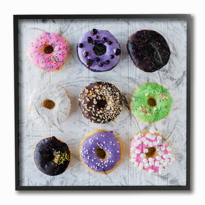 'Colorful Donut Grid' Wall Art Format: Black Framed, Size: 12'' H x 12'' W
