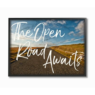 'The Open Road Awaits Desert' Graphic Art Print on Wood Format: Floater Frame, Size: 11