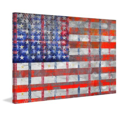 Bold Red Stripes Painting Print on Wrapped Canvas Size: 16