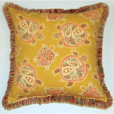 Tranquil Turtles Fringed Cotton Throw Pillow Color: Nutmeg