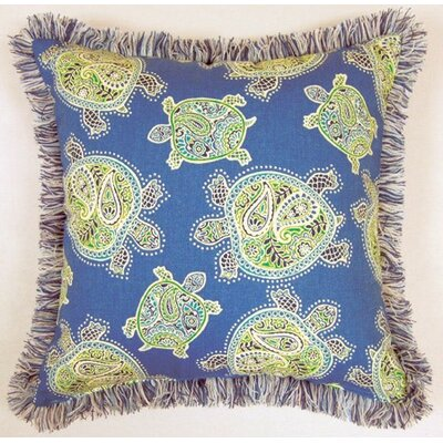 Tranquil Turtles Fringed Cotton Throw Pillow Color: Ocean