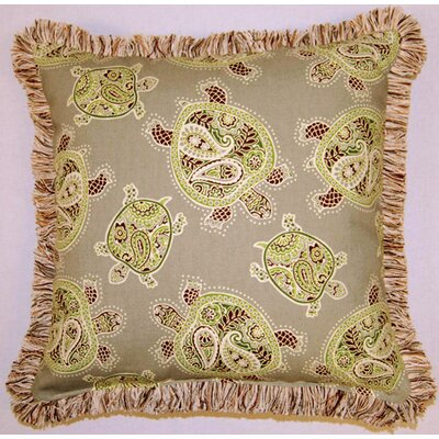 Tranquil Turtles Fringed Cotton Throw Pillow Color: Stone