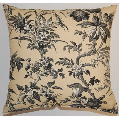 Clara Woodrose Cotton Throw Pillow Color: Black / Tan