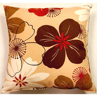 Flower Power Caramel Cotton Throw Pillow