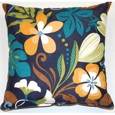 Fun Floral Marine Cotton Throw Pillow