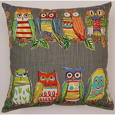 Hoot Cotton Throw Pillow Color: Mercury