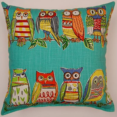 Hoot Cotton Throw Pillow Color: Opal