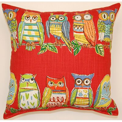 Hoot Cotton Throw Pillow Color: Red