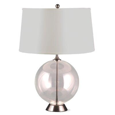 Lighting Enterprises Table Lamp with Satin Nickel Accents - Lampshade: Cream Fabric Shade with Black Pinstripe at Sears.com