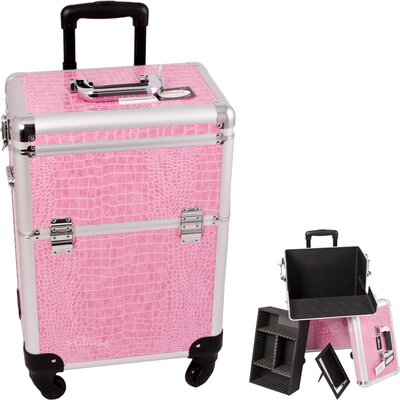 Sunrise Cases Crocodile Pattern Professional Rolling Cosmetic Makeup Case - Color: Pink Crocodile at Sears.com