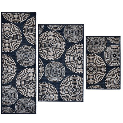 3 Piece Aztec Blue Area Rug Set