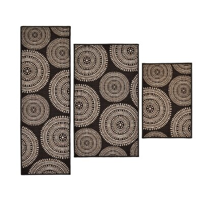 3 Piece Aztec Brown Area Rug Set