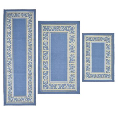 3 Piece Floral Border Blue Area Rug Set