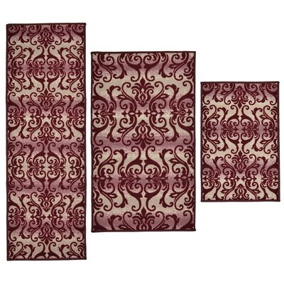 3 Piece Madrid Burgundy Area Rug Set