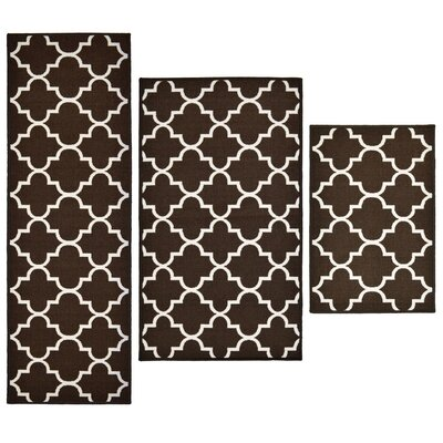 3 Piece Lattice Brown Area Rug Set