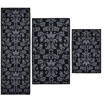 Madison Home 3 Piece Versailles Black Area Rug Set