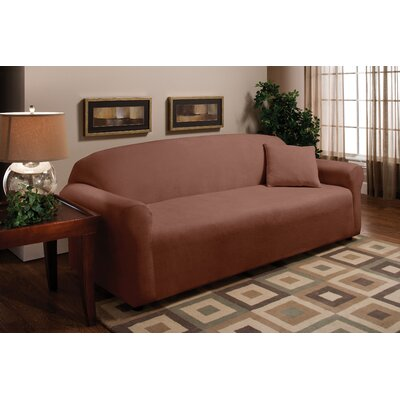 Stretch Microfleece Sofa Slipcover Upholstery: Brown