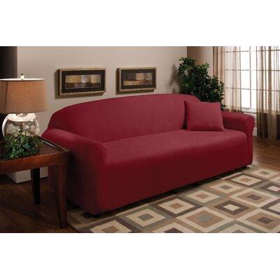 Stretch Microfleece Box Cushion Sofa Slipcover Upholstery: Burgundy